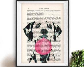 Dalmatian print, Dalmatian art, bubblegum, dog with bubblegum, vintage paper, dog poster, dog print, dog illustration, dog drawing