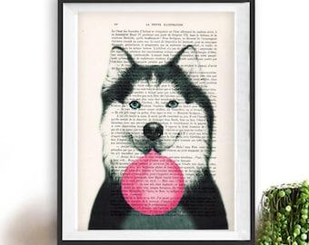 Huski print, Huski art, bubblegum, dog with bubblegum, vintage paper, dog poster, dog print, dog illustration, dog drawing