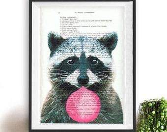Raccoon print, Raccoon art, wwf, bubblegum, Raccoon with bubblegum, vintage paper, Raccoon poster,Raccoon illustration,Raccoon drawing