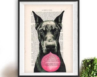 Dobberman print, Dobberman art, bubblegum, dog with bubblegum, vintage paper, dog poster, dog print, dog illustration, dog drawing