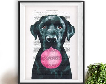 Labrador print, Labrador art, bubblegum, dog with bubblegum, vintage paper, dog poster, dog print, dog illustration, dog drawing