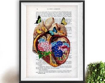 Heart Flower Anatomy Print, Human, Anatomy art, love, science wall decor, art print, vintage drawing, book art, Halloween, gift for him