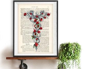 caduceus symbol medical art medicine rod of asclepius etsy