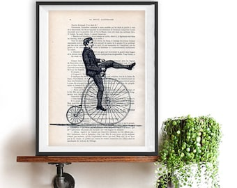 vintage bicycle man print poster retro old illustration dictionary wall art wall decor  shabby chic cottage Christmas gift him collectible