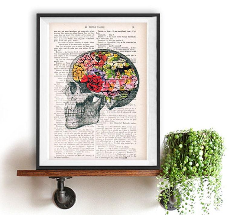 Art Print Flowery Brain collage Printed on Vintage Dictionary image 0