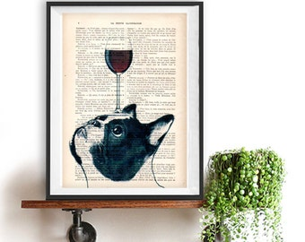 French Bulldog Print, Bulldog with wine glass, French design, black and white,bulldog poster Art Print on recycled french book page