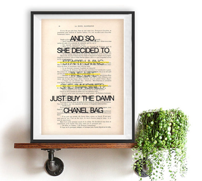 51be7e1a219fb Buy Chanel Bag living art print Typography Posters Home decor fun words,  minimalist fun vintage book page funny quote friend gift fashion