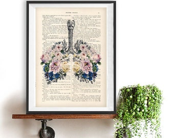 Botanic Bouqeut Flowers Lungs Anatomy Print 1900 vintage floral page, Doctor gift, Anatomy Illustration, human anatomy art, science drawing
