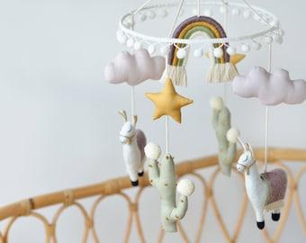 Rainbow Nursery Mobile, Cactus Mobile, Cactus Nursery, Rainbow Nursery, Rainbow, Cloud, Llama Mobile, Boho Nursery Mobile - READY TO SHIP