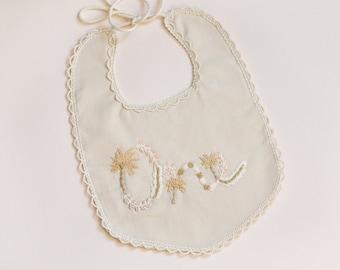 Darling Floral Milestone Bib in Ivory, Birthday Bib, Milestone Bib, Bib, Embroidered Bib, Photo Prop - MADE TO ORDER