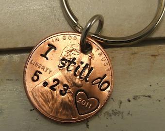 I still Do Keychain, Penny Keychain, 7 year Anniversary Keychain, Copper Keychain, Personalized Keychain, Anniversary Keychain
