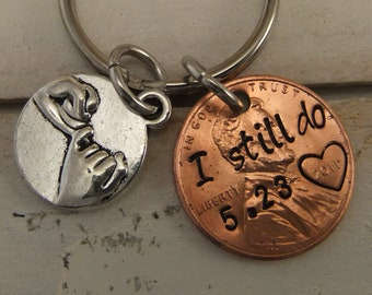 Penny Keychain, I Still Do Keychain, 7 Year Anniversary Gift, Copper Anniversary gift. Couples Keychain, Pinky Promise Keychain