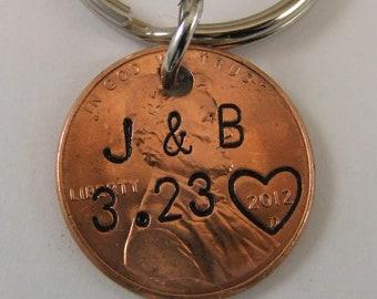 Penny Keychain, Couples Keychain, Anniversary Keychain, 7 Year Anniversary Keychain, Personalized Keychain, Copper Keychain