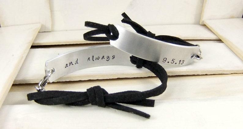 Couples Bracelet Forever and Always hand stamped bracelets image 0