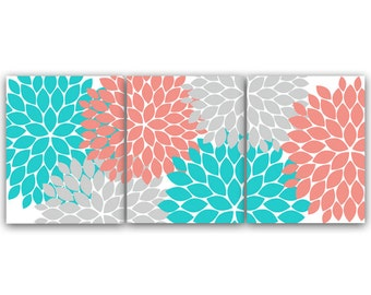 Coral Teal Gray Etsy