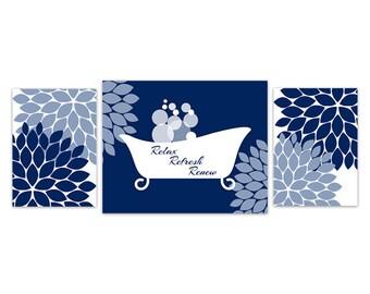 Bon Bathroom Wall Art, Blue Bathroom Decor, INSTANT DOWNLOAD, Flower Burst  Bathtub Art, Home Decor, Navy Bathroom Wall Decor   BATH95