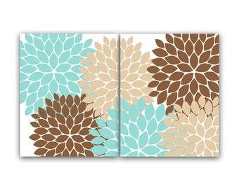 Home Decor Wall Art Teal and Brown Flower CANVAS Burst Art ...