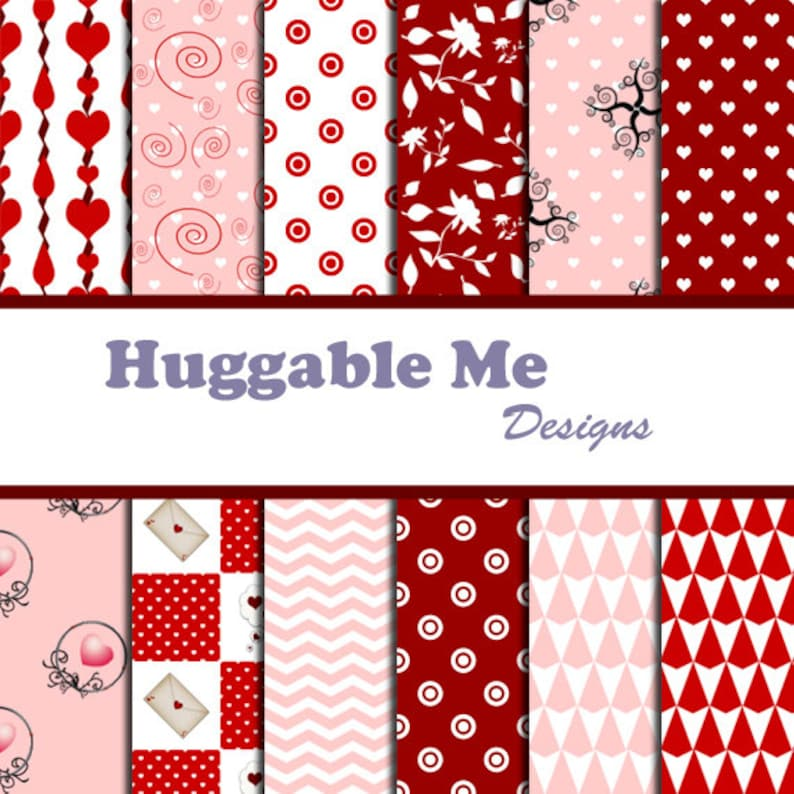 Valentine Paper  Red & White Valentine Themed Designs for image 0