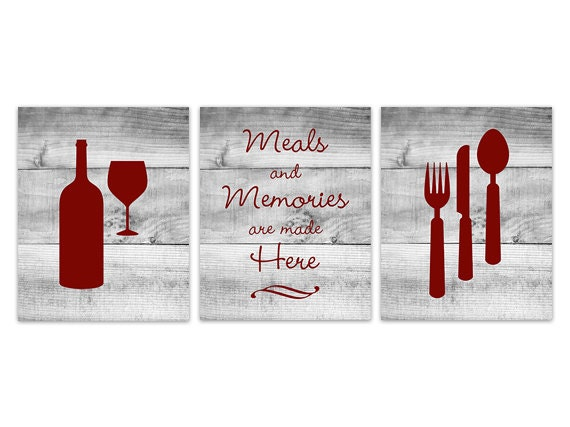 Red Kitchen Wall Art INSTANT DOWNLOAD Fork Spoon Knife Art   Etsy