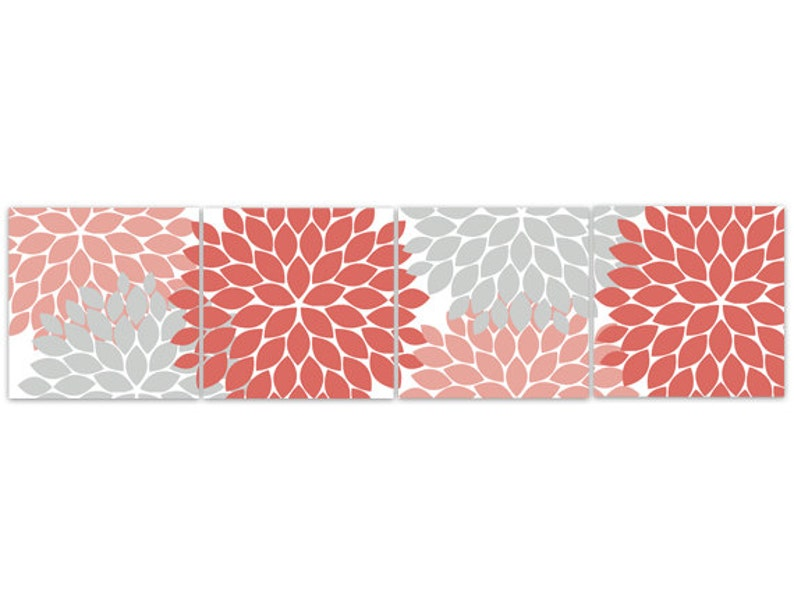 Coral And Gray Wall Decor from i.etsystatic.com