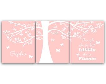 Nursery Wall Art, DIGITAL DOWNLOAD Personalized Kids Name Art, Pink Nursery Decor, Though She Be But Little She Is Fierce - KIDS58