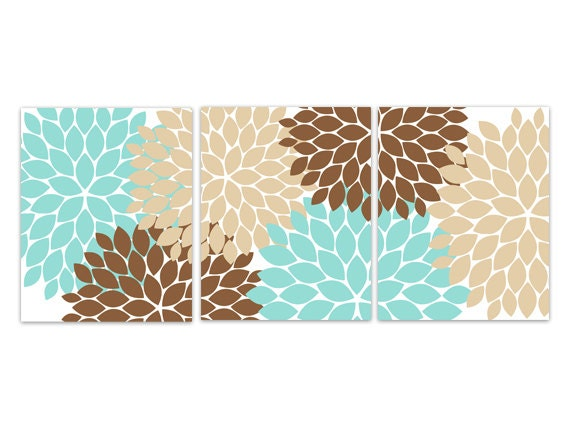 Home Decor Wall Art Instant Download Aqua And Brown Flower Etsy