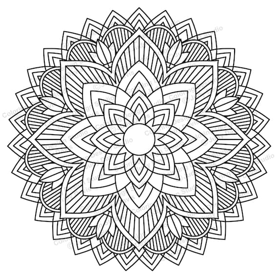 Mandala To Color Adult Coloring Page Instant Download PDF Etsy