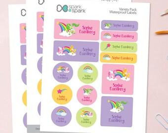 sweet unicorns waterproof labels for kids personalized labels for kids labels for school childrens labels