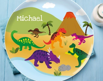 Kids Melamine Dinnerware - Dinosaurs in the Jungle - Personalized Plates for Boys - Melamine Bowl - Custom Placemat with Name