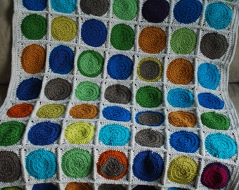 Crocheted Multi-colored Circle Afghan