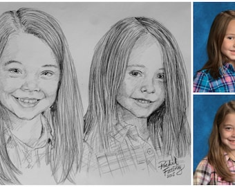 Children Portrait Photo to Sketch Custom Drawing