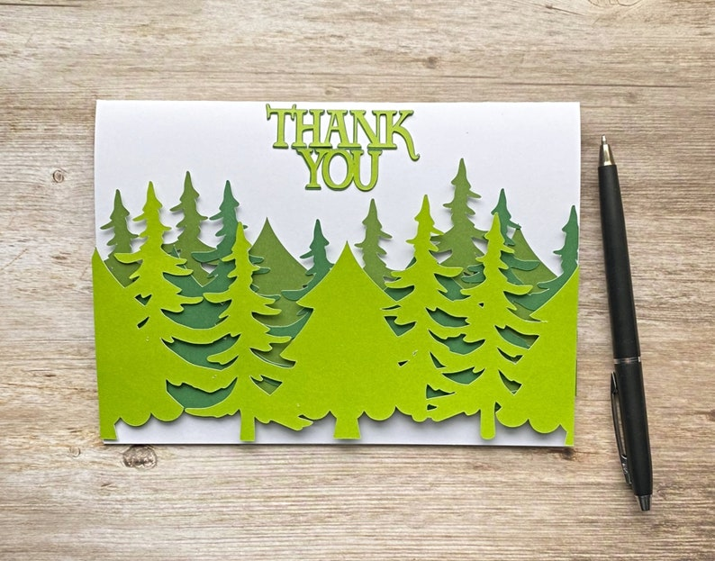 Employee Thank you card for Him Coworker Thank you Card with Trees Forest Customer Appreciation Outdoors Blank inside with envelope