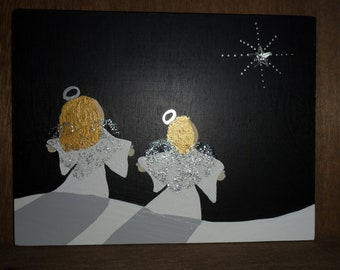 Painting. Original primitive painting of 2 Blonde little Snow Angels under the Shining  Winter Star. Great gift. Can be personalized.