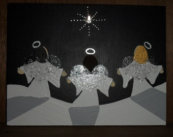 Painting. Original primitive style painting of 3 Snow Angels under the Shining  Winter Star. Great Gift. Can be personalized.