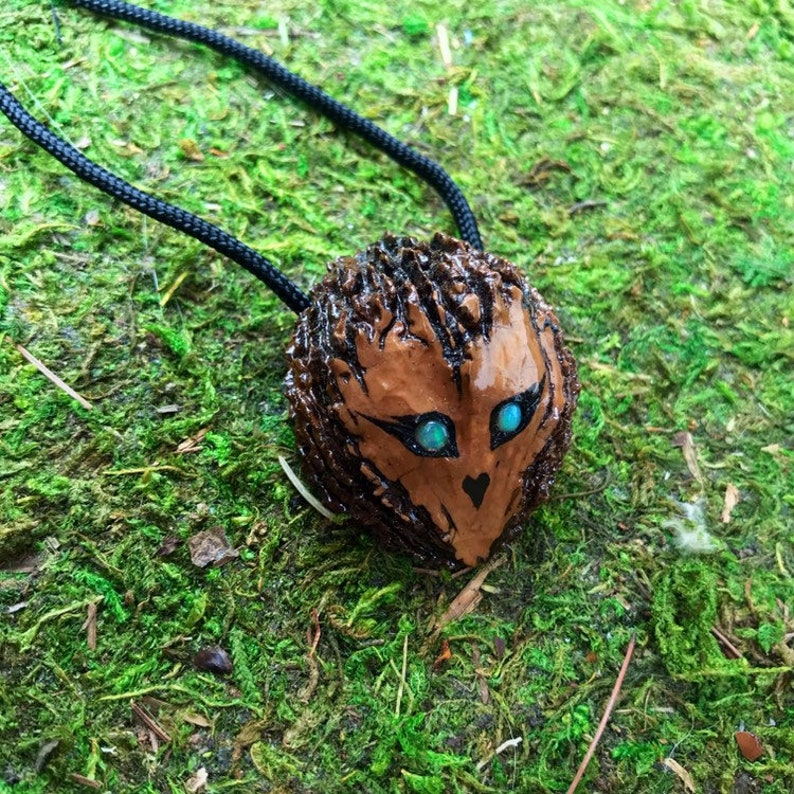 ShimmerWing- carved and painted black walnut owl with opal eyes