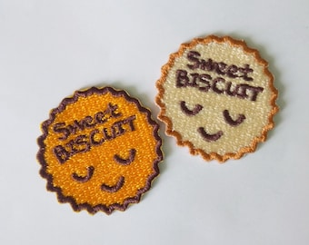 Set of 2 Embroidered Sweet Biscuit Iron on Patch Applique
