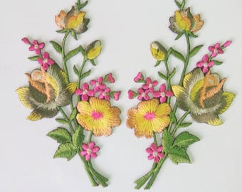 """Set of 2 Bunches Embroidered Gray/Yellow Rose Iron On Patch (2 1/4"""" x 4 3/8"""")"""