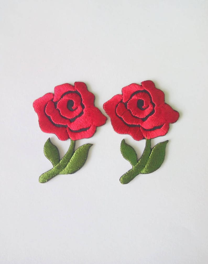 "ROSE  IRON ON FLOWER PATCH   1-3//8/"" x 1-1//4/"""