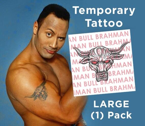 161f360ea1878 The Rock Dwayne Johnson Brahama Bull Temporary Tattoo Etsy