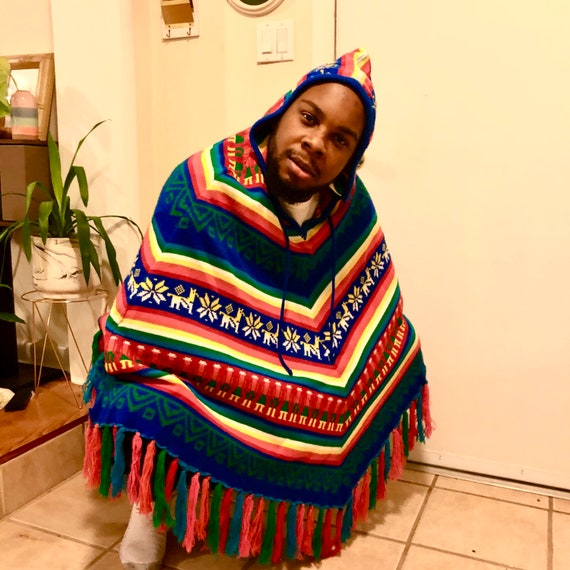 70's rainbow stripe hooded poncho tassels | large