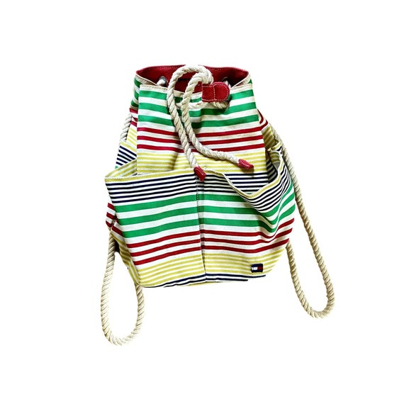 90's tommy hilfiger striped rope canvas backpack p