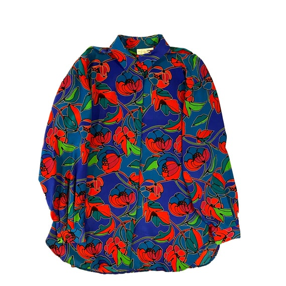 80's bright floral print blouse | xlarge