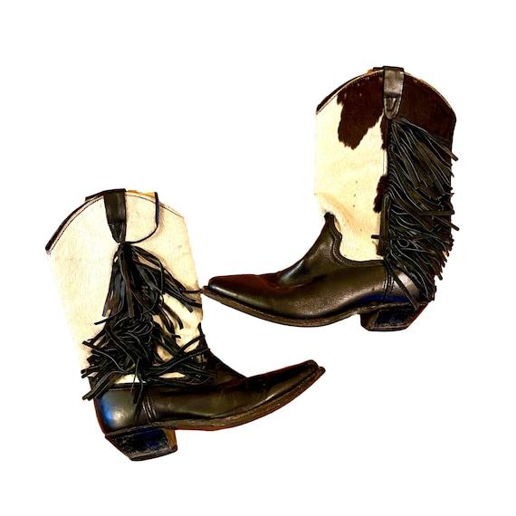vintage cow print leather fringe cowboy boots   7.