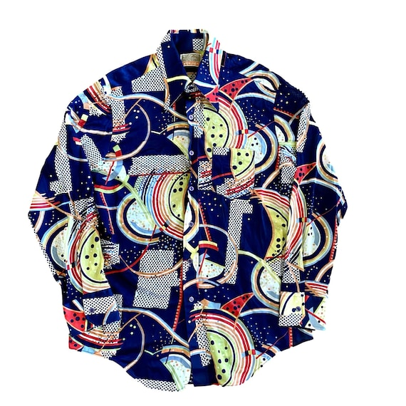 70's mens psychadelic colorful print pointed colla