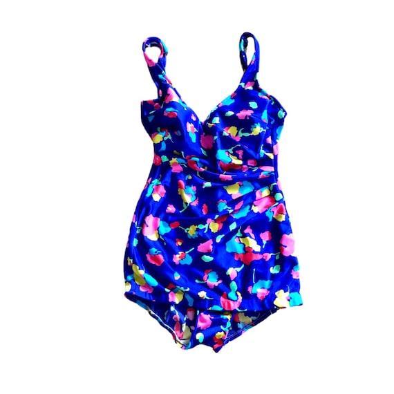 60's neon purple floral swimsuit | medium