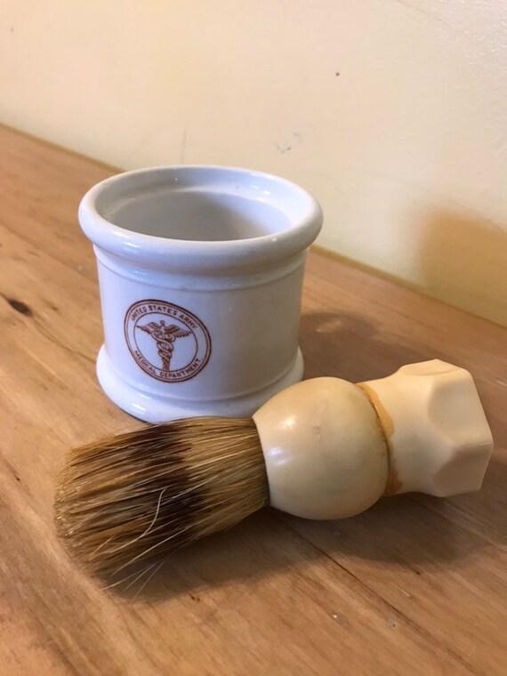 Mint 1950s Us Army Medical China Shave Mug And Brush Etsy