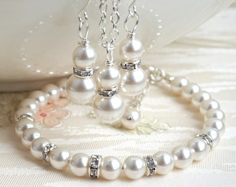Ivory Pearl Jewelry Set, Bridesmaids Gift Jewelry Set, Beaded Jewelry Set of Bracelet, Necklace and Earring, Wedding Party Jewelry Bracelet