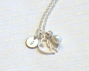 Set Of Seven 7 Bridesmaid Necklaces, Jewelry Set of 7 Bridesmaid gifts, 7 Personalized Necklaces, Weddings jewelry, Heart Charm necklaces