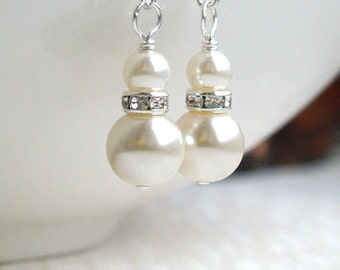Will You Be Ivory Bridesmaid Gift Pearl Earrings Bridesmaid Earrings Bridesmaid Jewelry Dangle Earrings Wedding Party Bridal Earrings C2156
