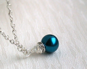 Teal Bridesmaid jewelry, Teal Bridesmaid Necklace, Teal Flower Girl Necklace, Pearl Jewelry Bridesmaid gift, Rhinestone Crystal jewelry